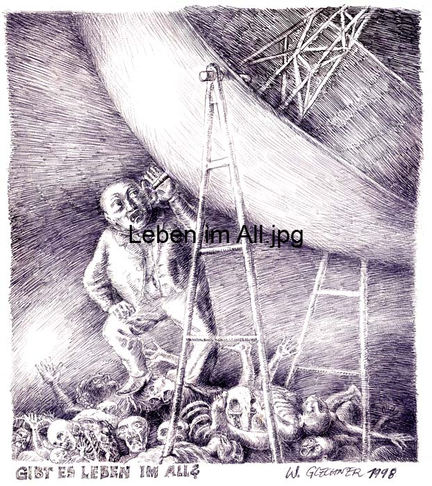 Life in space, radiotelescope, drawing, ball point pen, pendrawing, federzeichnung